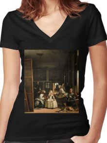 Diego Velazquez's Las Meninas Women's Fitted V-Neck T-Shirt