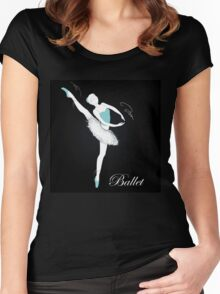 pretty ballet dancer on black Women's Fitted Scoop T-Shirt