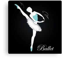 pretty ballet dancer on black Canvas Print