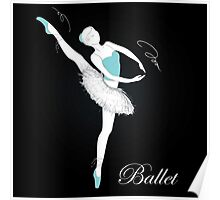 pretty ballet dancer on black Poster