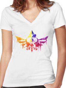 Skyward Rainbow v4 Women's Fitted V-Neck T-Shirt