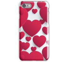Pink Hearts on Blue Background  iPhone Case/Skin