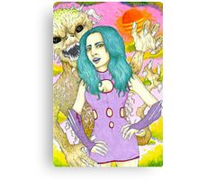 Space Girl and the planet of the dune devils Canvas Print