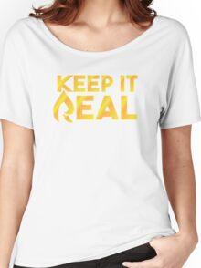 "Faze Rain   ""Keep it Real""   Black Background   Women's Relaxed Fit T-Shirt"