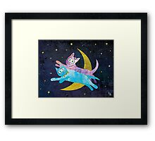 Cat Lovers Over the Moon Framed Print