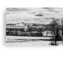 snow on an ancient church of italy Canvas Print