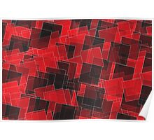 Abstract Red and Black Squares Poster