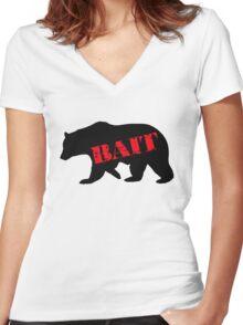 black bear bait Women's Fitted V-Neck T-Shirt