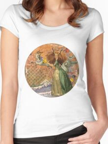 Vintage Golden Woman Capricorn Gothic Whimsical Collage Women's Fitted Scoop T-Shirt
