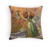 Vintage Golden Woman Capricorn Gothic Whimsical Collage Throw Pillow