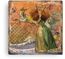 Vintage Golden Woman Capricorn Gothic Whimsical Collage Canvas Print