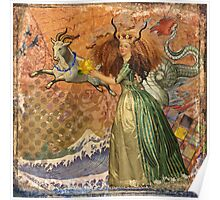 Vintage Golden Woman Capricorn Gothic Whimsical Collage Poster