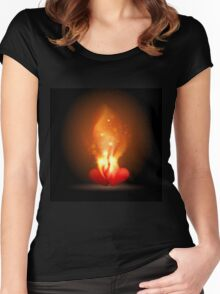 Burning Hearts Women's Fitted Scoop T-Shirt