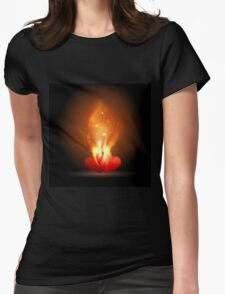 Burning Hearts Womens Fitted T-Shirt