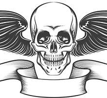 Winged Skull by devaleta