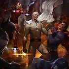 Saitama vs Superheroes by Smilie Face