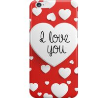 """I Love You"" with white hearts on red background iPhone Case/Skin"