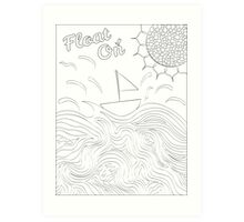 Float On Ocean-Themed Adult Coloring Art Print and Canvas Art Print