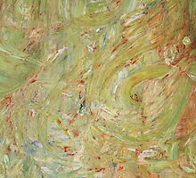 Abstract Green Swirls by Edward Jeavons