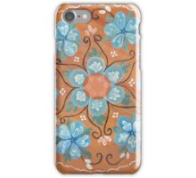 Blue Forget Me Not Alaska Wildflower Painted Wood Folk Art RoseMaling Kirsten iPhone Case/Skin