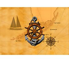 Nautical Ships Wheel And Anchor Photographic Print