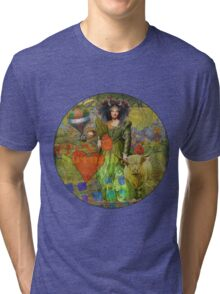 Vintage Taurus Gothic Whimsical Collage Woman Surreal Tri-blend T-Shirt