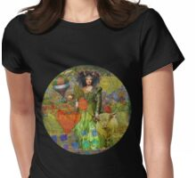 Vintage Taurus Gothic Whimsical Collage Woman Surreal Womens Fitted T-Shirt
