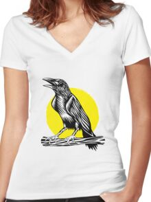 Black Crow Women's Fitted V-Neck T-Shirt