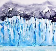 Glacier. Watercolor landscape. by KatyaBranch