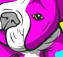 Pit Bull Pup Tilted Head Cartoon Pink  Sticker