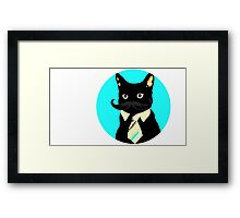 Mustache and cat Framed Print