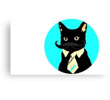 Mustache and cat Canvas Print