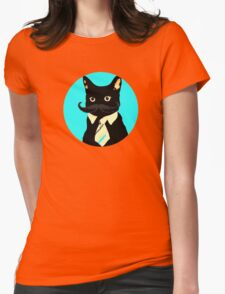 Mustache and cat Womens Fitted T-Shirt