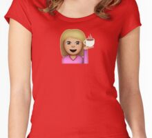 Hair Flip and Coffee Emoji (Light Skin, Blonde Hair) Women's Fitted Scoop T-Shirt