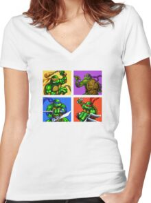 Half Shelled Heroes Women's Fitted V-Neck T-Shirt