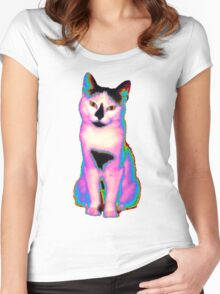 Psychedelic Kitty IV Women's Fitted Scoop T-Shirt