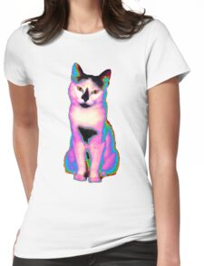 Psychedelic Kitty IV Womens Fitted T-Shirt