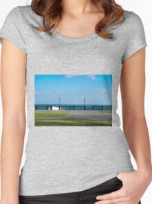 View of the embankment of the lake Women's Fitted Scoop T-Shirt