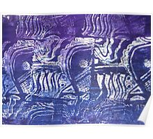 Blue Fish - Collaged Abstract Fish Lino Print   Poster