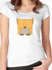 So cute Owl in orange Women's Fitted Scoop T-Shirt