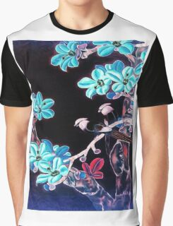 'Aquamarine Dream' - Abstract Glowing Blossoms Graphic T-Shirt