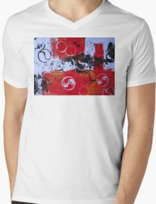 Abstract in Red and Black  Mens V-Neck T-Shirt