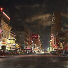 City - Dallas TX - Elm street at night 1941 by Mike  Savad