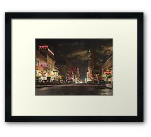 City - Dallas TX - Elm street at night 1941 Framed Print