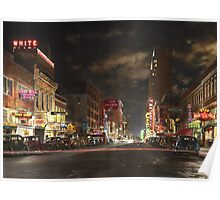 City - Dallas TX - Elm street at night 1941 Poster