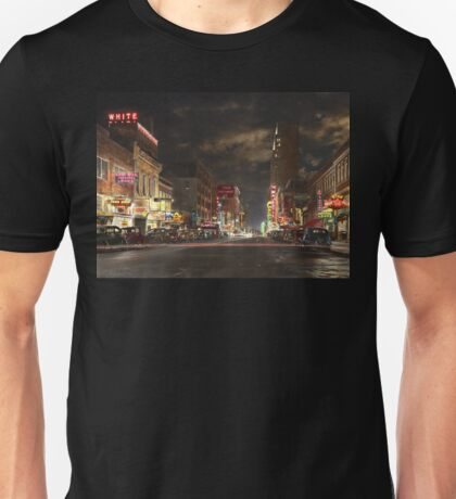 City - Dallas TX - Elm street at night 1941 Unisex T-Shirt