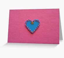 Blue Love Heart Decorated on Pink Background for Mother's Day or Valentine's Day Greeting Card