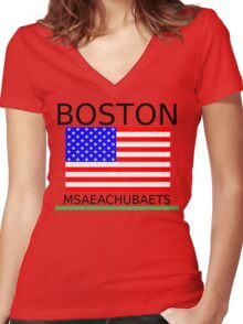BOSTON, MSAEACHUBAETS Women's Fitted V-Neck T-Shirt