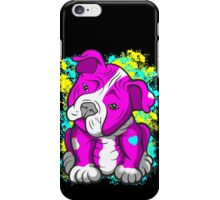 Pit Bull Pup Tilted Head Cartoon Pink  iPhone Case/Skin