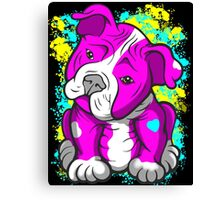 Pit Bull Pup Tilted Head Cartoon Pink  Canvas Print